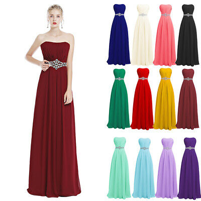 Women Strapless Chiffon Long Dress Wedding Bridesmaid Evening Party Formal Gowm
