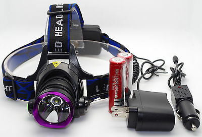 5000LM LED Rechargeable Headlight Headlamp Flashlight + 2x18650 + Charger