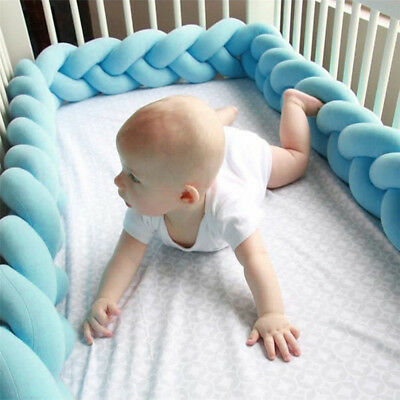 Baby Infant Plush Crib protection Bed Bedding Cot Braid Pillow Pad Protector