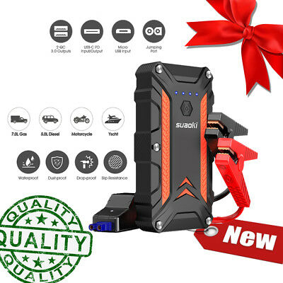 Suaoki 12000mAh Voitures Jump Starter Chargeur Démarrage Urgence Booster Charger
