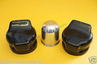 FREE UK Post - Chrome Towball Cover Cap & 2 Socket Covers - Caravan Trailer