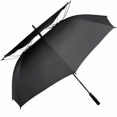 Windproof Golf Umbrella Double Canopy Vented Large Waterproof Stick 62 Inch New
