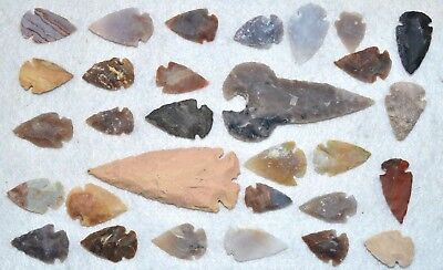 "30 PC Flint Arrowhead Ohio Collection Points 2-3"" Spear Bow Stone Hunting 2540"