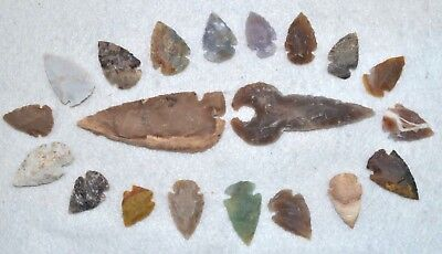 "20 PC Flint Arrowhead Ohio Collection Points 2-3"" Spear Bow Stone Hunting 2541"
