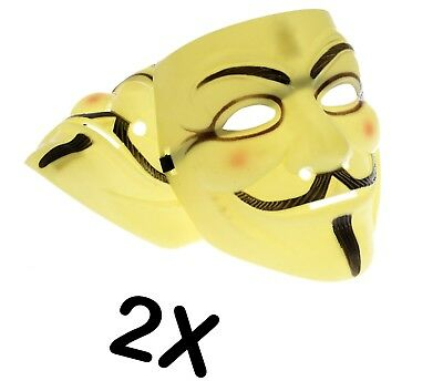 2X Anonymous Hacker V For Vendetta Fawkes Fancy Dress Halloween Yellow Face Mask