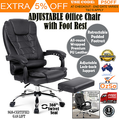 Reclining Chair with Footrest Executive Office Seat Recliner PU Leather Black
