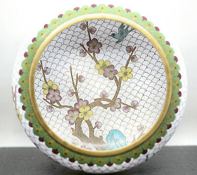 Stunning Vintage Mid Size Chinese Cloisonne Plum Blossom Bowl Great Condition