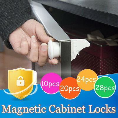 Multiple Magnetic No Drilling Cabinet Drawer Cupboard Locks Baby Kid Safety Lock