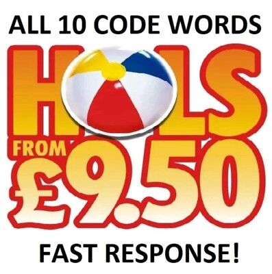 The Sun Holidays Booking Codes £9.50 ALL 10 Token Code Words *Fast Response*