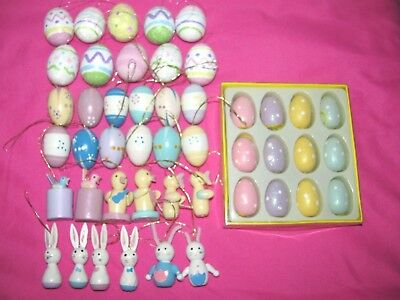 Lot Of 46 Vintage Miniature Wooden Easter Tree Ornaments