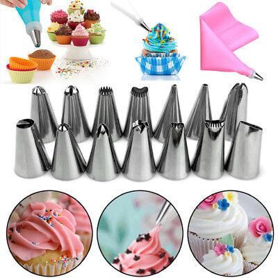 14pcs Nozzle + Silicone Icing Piping Cream Pastry Bag Set Cake Decorating Tool