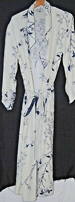 Julianna Rae Womens Silk Robe Belted Wrap White Navy Blue Floral Flowers Small S