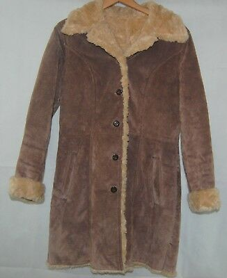 Wilsons Brown Suede Leather Long Coat Faux Fur Shearling Lining Winter Jacket M