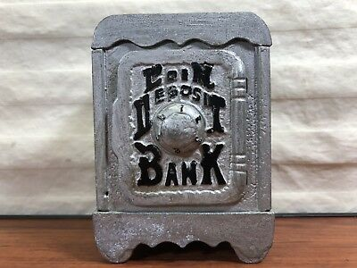 Old House Find Vintage Antique Hand Painted Cast Iron Toy Safe Coin Deposit Bank