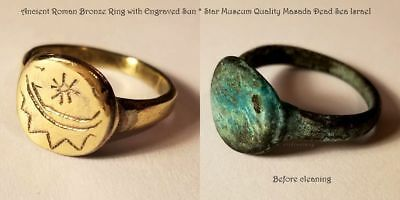 Ancient Roman Bronze Ring with Engraved Sun * Star Museum Quality Masada Israel