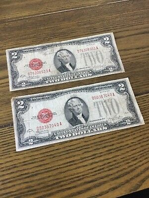 Lot of 2 -1928 F $2 Two Dollar Red Seal Bill US Paper Money