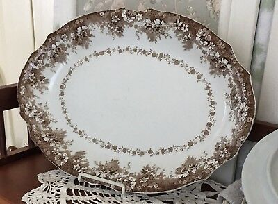 "LOVELY Antique BROWN TRANSFERWARE Ironstone 16"" PLATTER MEAKIN Staffordshire"