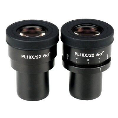 AmScope 10X Plan Eyepieces (One Focusable) for Microscopes (30mm)
