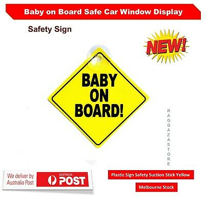 Baby on Board Safe Car Window Display Plastic Sign Safety Suction Stick Yellow