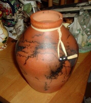 "Interesting Asian Design Artisan Made Pottery Signed Vase 6 "" Tall"