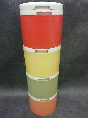 Vintage Set of 4 Coloured Tupperware Stacking Shaker Containers