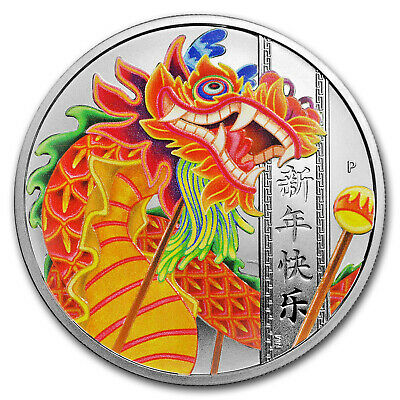 2019 Tuvalu 1 oz Silver Chinese New Year Dragon Proof (Colorized) - SKU#179567