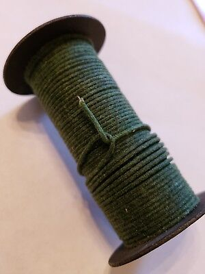 Vintage Spool 1mm Dark Green Cloth Covered Metal Clad? Copper Wire