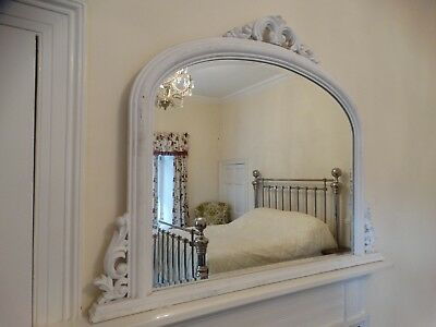 Large Victorian French arch Style Chalk Painted overmantel wall mirror rrp£295 k