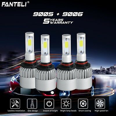 9005+9006 6000K CREE LED 3910W 586500LM Combo Headlight Sets High + Low Beam 6K