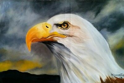 """AMERICAN EAGLE oil on canvas 14x22"""" original painting vibrant colors beautiful!"""