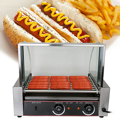 190 ℃ Commercial 24 Hot Dog Hotdog 9 Roller Grill Cooker Machine W/ Glass Cover