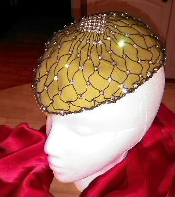 Hand made Chartreuse BRIGHT Green woman's hat chapeau topper Rhinestone VINTAGE