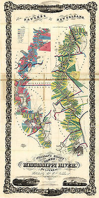 1858 Lower Mississippi River Plantation Chart Map Real Property Wall Art Poster
