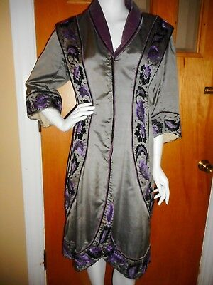 VERY RARE 1870s Antique VICTORIAN Hand EMBROIDERED SATIN CAPE - JACKET