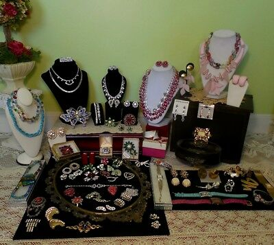 HUGE Vintage Rhinestone Jewelry Lot & Box - Weiss M Lent Trifari Juliana 925