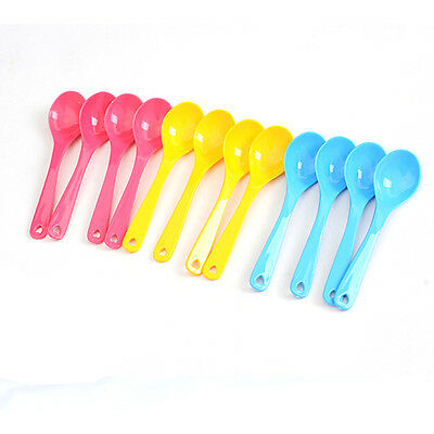 12Pcs Baby Feeding Spoon Safe Plastic Toddler Training Eating Spoon Food Set FJ