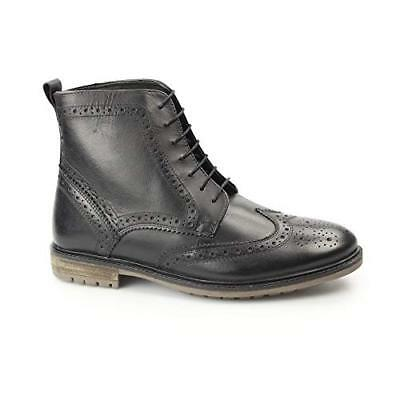 750a2f96213 Mens Silver Street London Gerrard Black Brogue Lace Up Boots Smart Shoes  Size 9