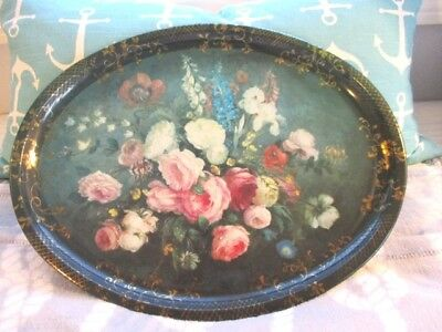 Vintage Victorian Style Still Life Tole Cabbage Roses Serving Designer Tray