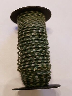 Vintage Spool 1mm Green and White Cloth Covered Copper Telephone? Wire