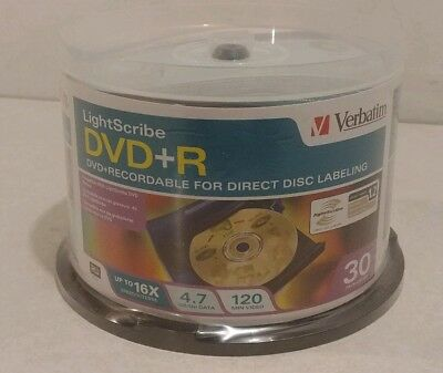 Verbatim Lightscribe DVD+R Recordable 30 Pack 4.7GB 16x Speed 120 Min RW