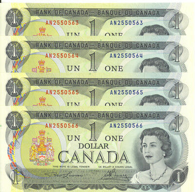 Bank of Canada 1973 $1 One Dollar Lot of 4 Consecutive Notes UNC Lawson-Bouey