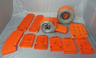 Nerf N-Strike Lot of 11  Dart Gun Ammo Clip Magazine Drum Orange