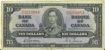 Bank of Canada 1937 $10 Ten Dollars Note Gordon-Towers Prefix R/D Fine+
