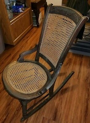 Ornate Wooden Scrollwork & Caning Antique Rocking Chair
