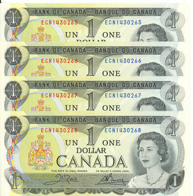 Bank of Canada 1973 $1 One Dollar Crow-Bouey Lot of 4 Consecutive Notes AU+/ UNC