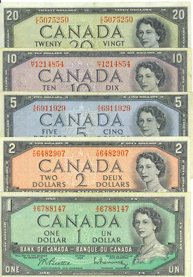 Bank of Canada 1954  Year Type Set of Vintage Notes $1 $2 $5 $10 $20 Decent