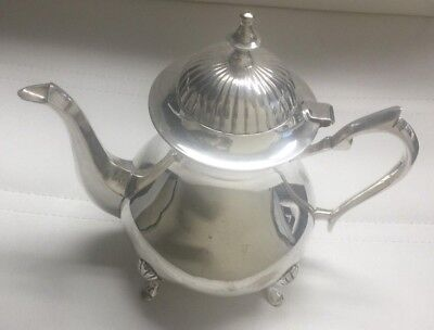 Silver Plated Teapot SP4032 Tea Pot India Functional Tarnished Small Scratches