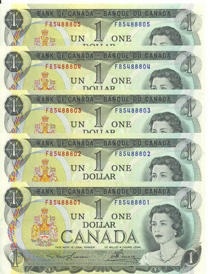 Bank of Canada $1 One Dollar Lot of 5 Consecutive Notes AU+/ UNC