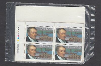 CANADA SEALED PLATE BLOCKS 1117 34c x 16 JOHN MOLSON & HIS MAIN ACHIEVEMENTS