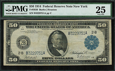 1914 $50 Federal Reserve Note - New York -  FR-1030 - PMG 25 - Very Fine